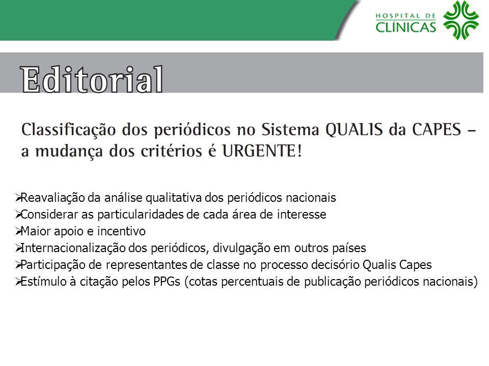 Reavaliação da análise qualitativa dos periódicos nacionais