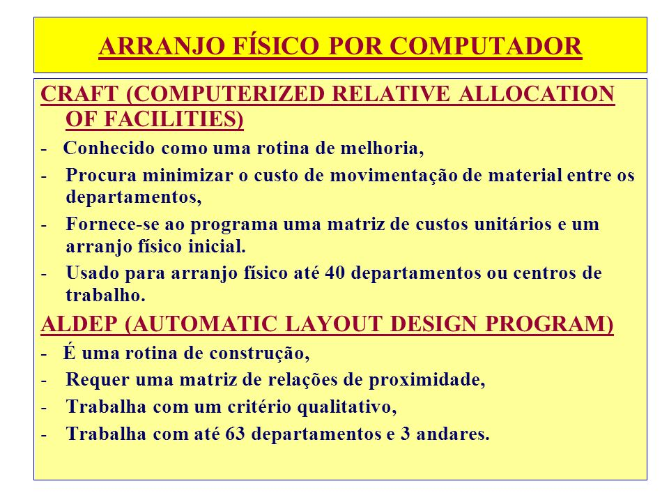 ARRANJO FÍSICO POR COMPUTADOR