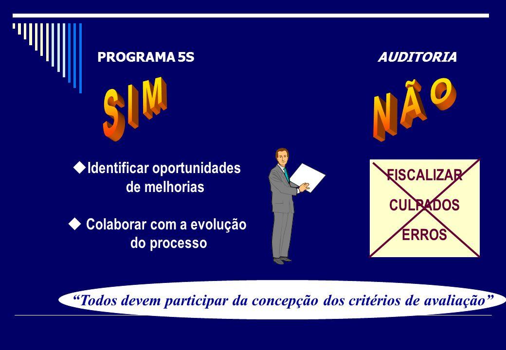 N Ã O S I M Identificar oportunidades de melhorias