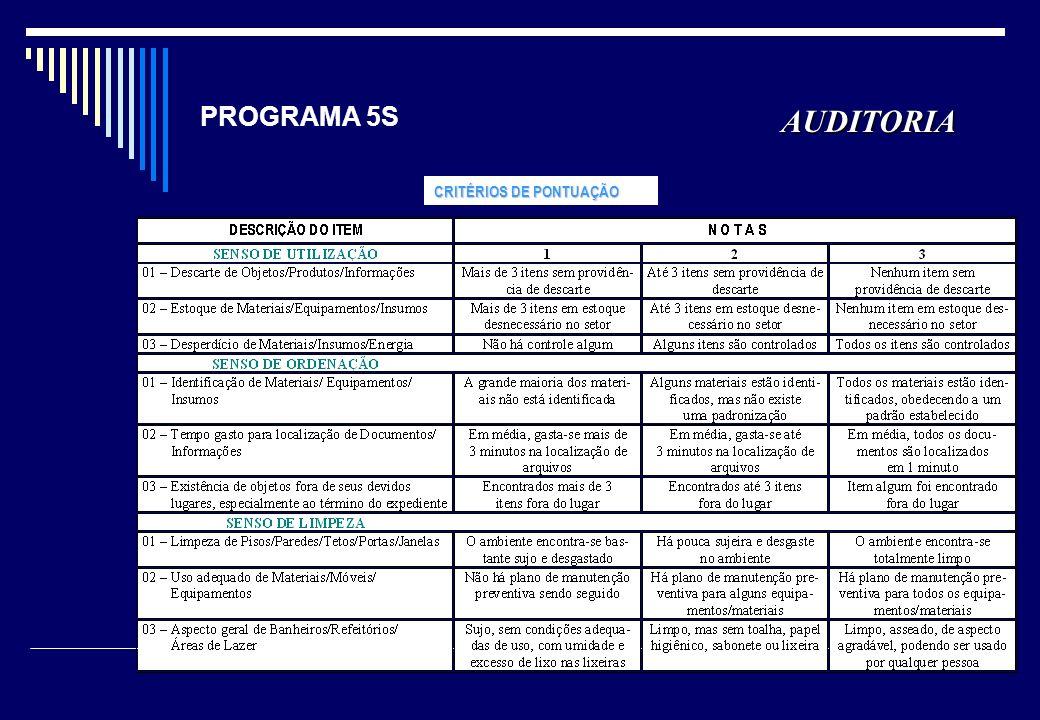 PROGRAMA 5S AUDITORIA CRITÉRIOS DE PONTUAÇÃO