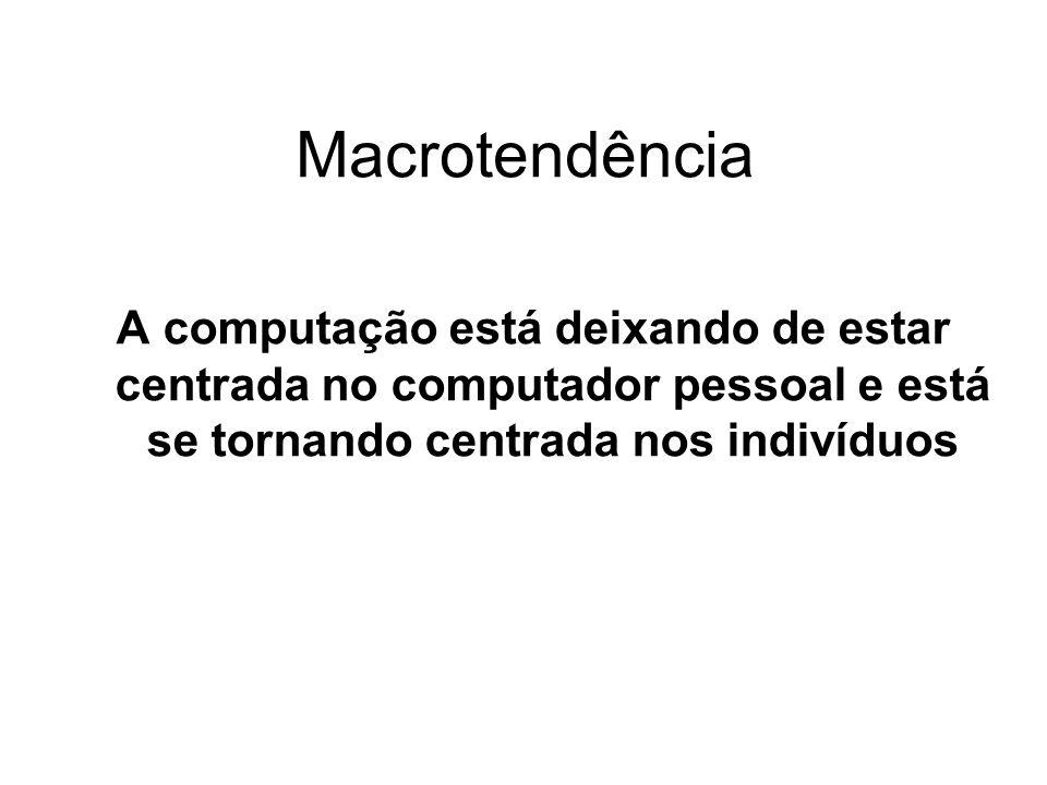 Macrotendência A computação está deixando de estar centrada no computador pessoal e está se tornando centrada nos indivíduos.