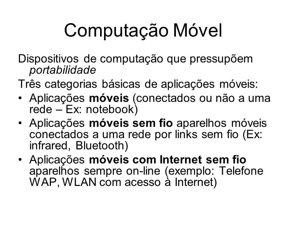 Computação Móvel Dispositivos de computação que pressupõem portabilidade. Três categorias básicas de aplicações móveis:
