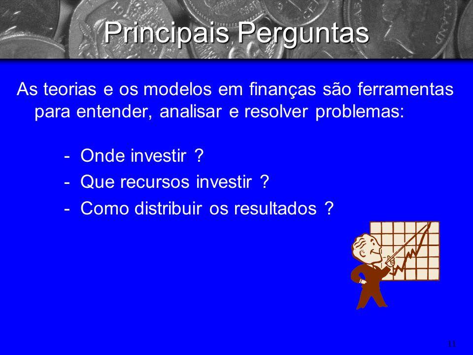 Principais PerguntasAs teorias e os modelos em finanças são ferramentas para entender, analisar e resolver problemas: