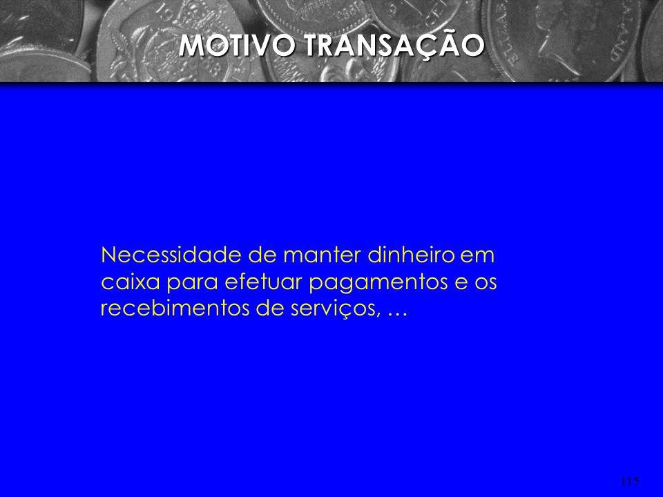 MOTIVO TRANSAÇÃO Necessidade de manter dinheiro em caixa para efetuar pagamentos e os recebimentos de serviços, …
