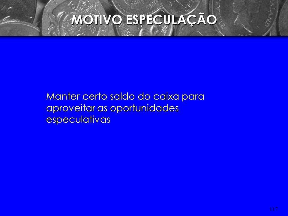 MOTIVO ESPECULAÇÃO Manter certo saldo do caixa para aproveitar as oportunidades especulativas