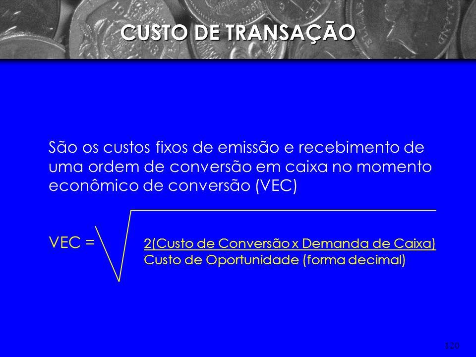 CUSTO DE TRANSAÇÃOSão os custos fixos de emissão e recebimento de uma ordem de conversão em caixa no momento econômico de conversão (VEC)
