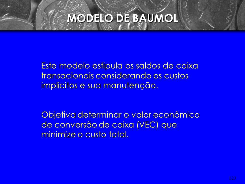 MODELO DE BAUMOLEste modelo estipula os saldos de caixa transacionais considerando os custos implícitos e sua manutenção.