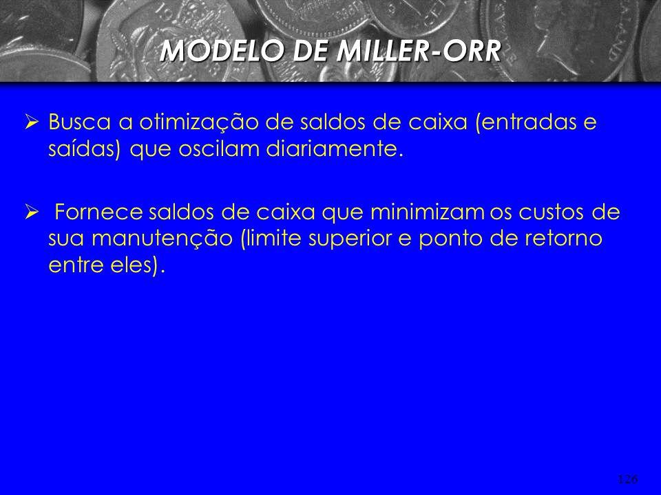 MODELO DE MILLER-ORRBusca a otimização de saldos de caixa (entradas e saídas) que oscilam diariamente.