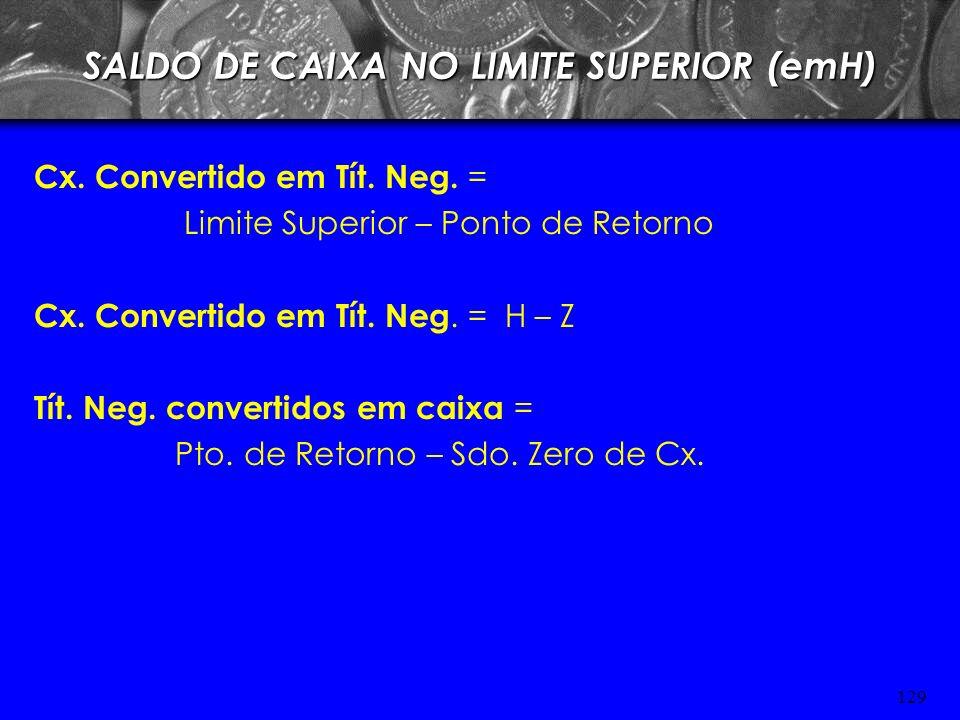 SALDO DE CAIXA NO LIMITE SUPERIOR (emH)