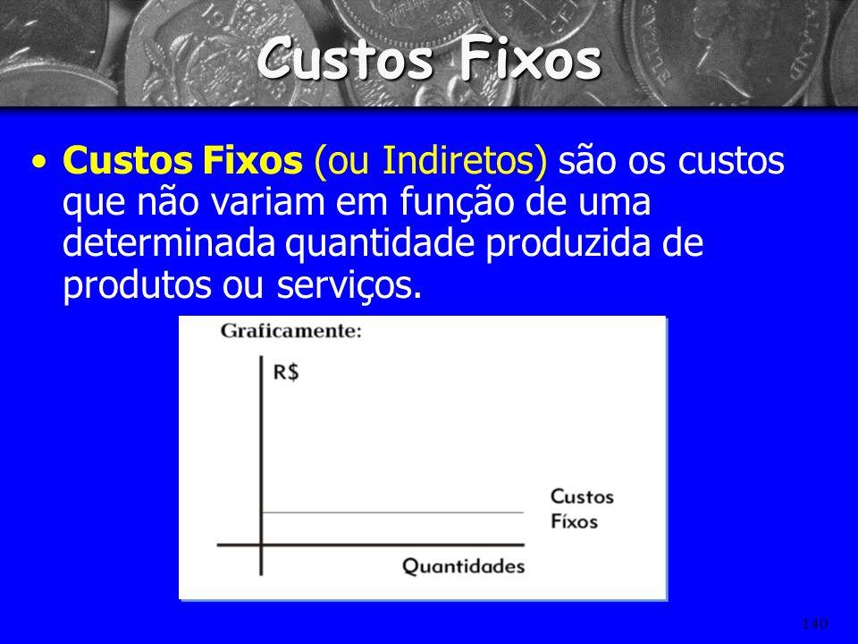 Custos Fixos Custos Fixos (ou Indiretos) são os custos que não variam em função de uma determinada quantidade produzida de produtos ou serviços.