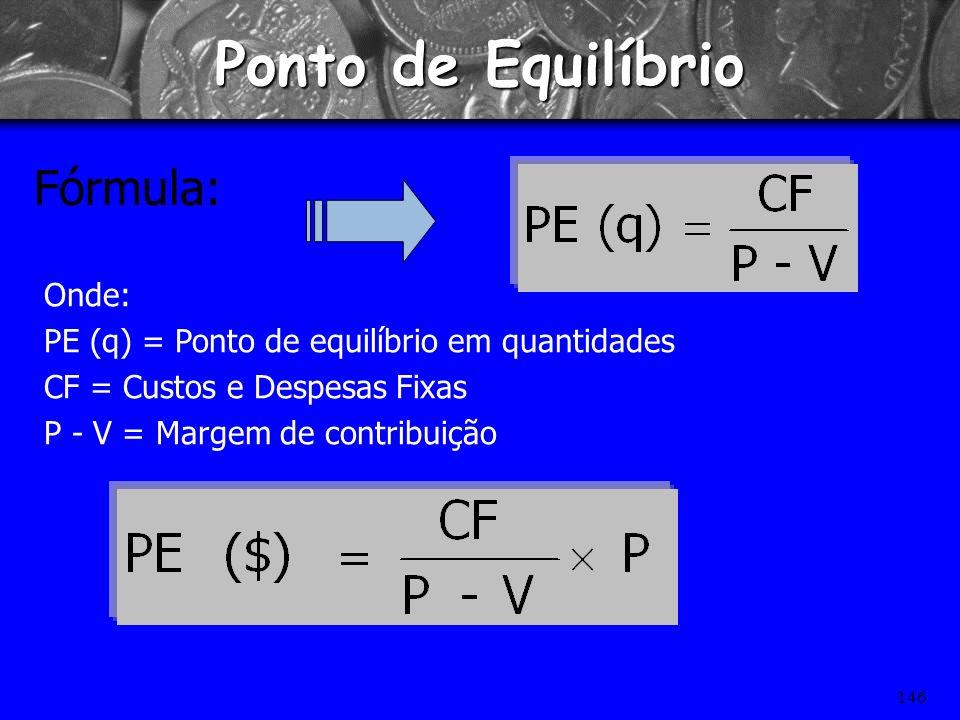 Ponto de Equilíbrio Fórmula: Onde: