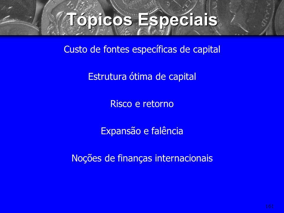Tópicos Especiais Custo de fontes específicas de capital