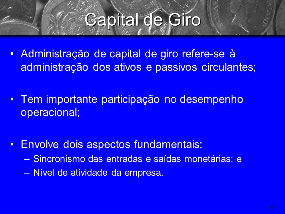 Capital de Giro Administração de capital de giro refere-se à administração dos ativos e passivos circulantes;