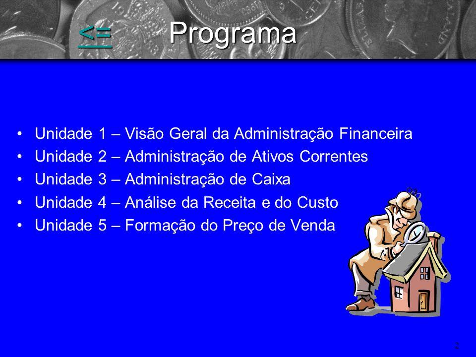 <= Programa Unidade 1 – Visão Geral da Administração Financeira