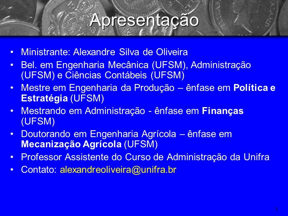 Apresentação Ministrante: Alexandre Silva de Oliveira