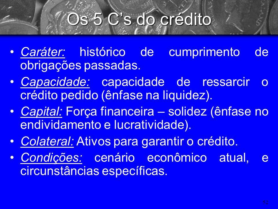 Os 5 C's do crédito Caráter: histórico de cumprimento de obrigações passadas.