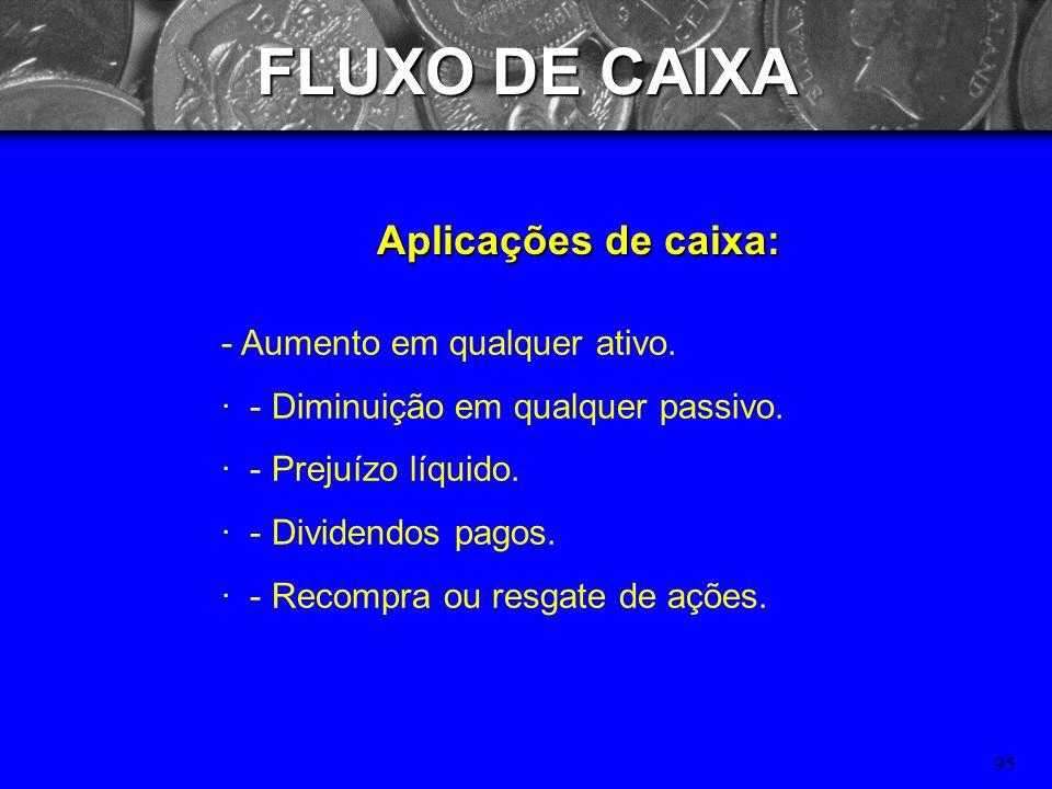 FLUXO DE CAIXA Aplicações de caixa: - Aumento em qualquer ativo.