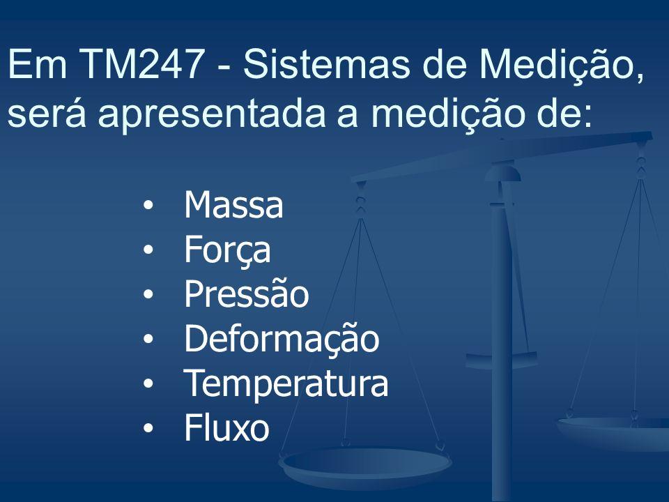 Em TM247 - Sistemas de Medição, será apresentada a medição de: