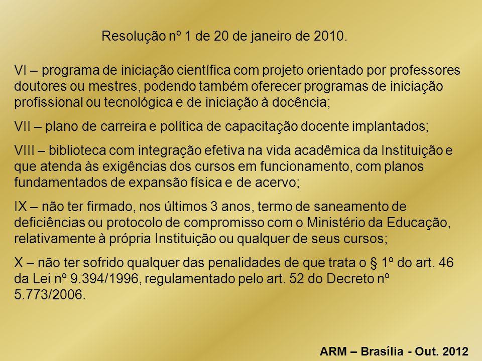 Resolução nº 1 de 20 de janeiro de 2010.