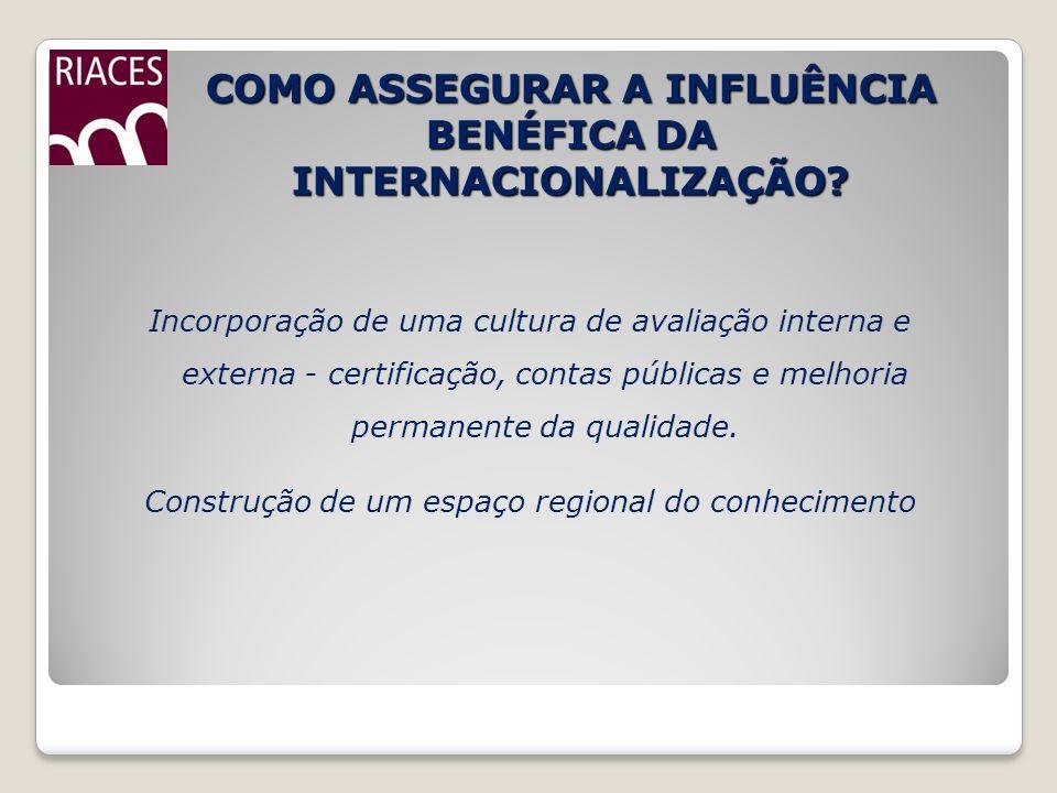 COMO ASSEGURAR A INFLUÊNCIA BENÉFICA DA INTERNACIONALIZAÇÃO