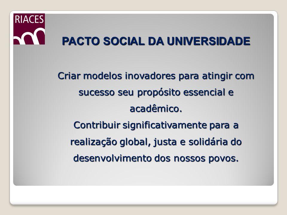 PACTO SOCIAL DA UNIVERSIDADE Criar modelos inovadores para atingir com sucesso seu propósito essencial e acadêmico.