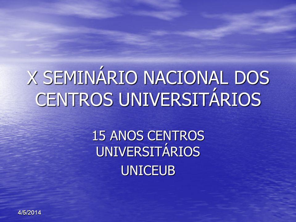 X SEMINÁRIO NACIONAL DOS CENTROS UNIVERSITÁRIOS