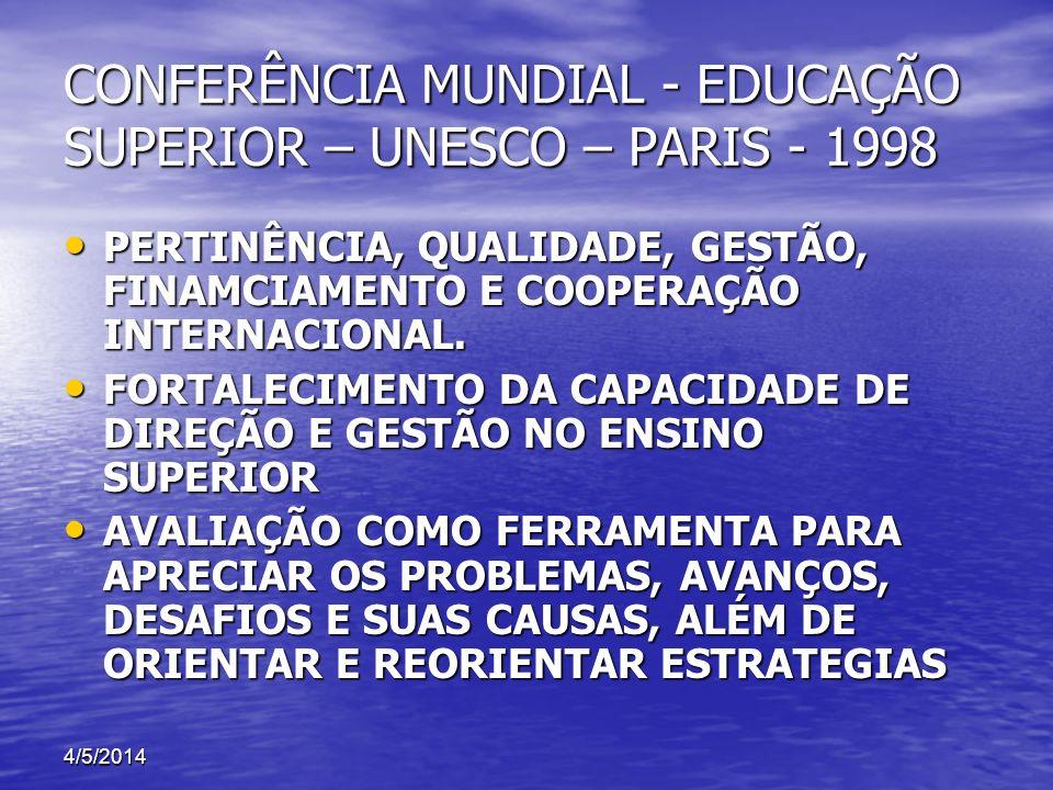 CONFERÊNCIA MUNDIAL - EDUCAÇÃO SUPERIOR – UNESCO – PARIS - 1998