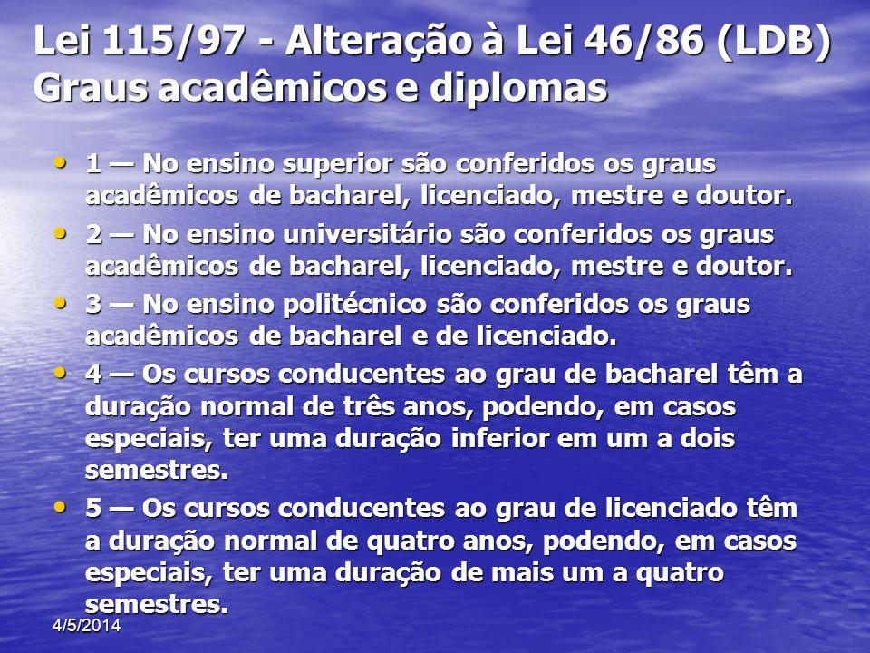 Lei 115/97 - Alteração à Lei 46/86 (LDB) Graus acadêmicos e diplomas