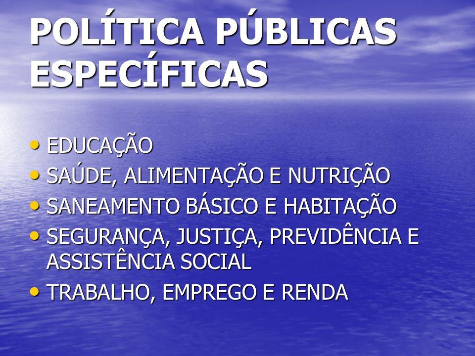POLÍTICA PÚBLICAS ESPECÍFICAS