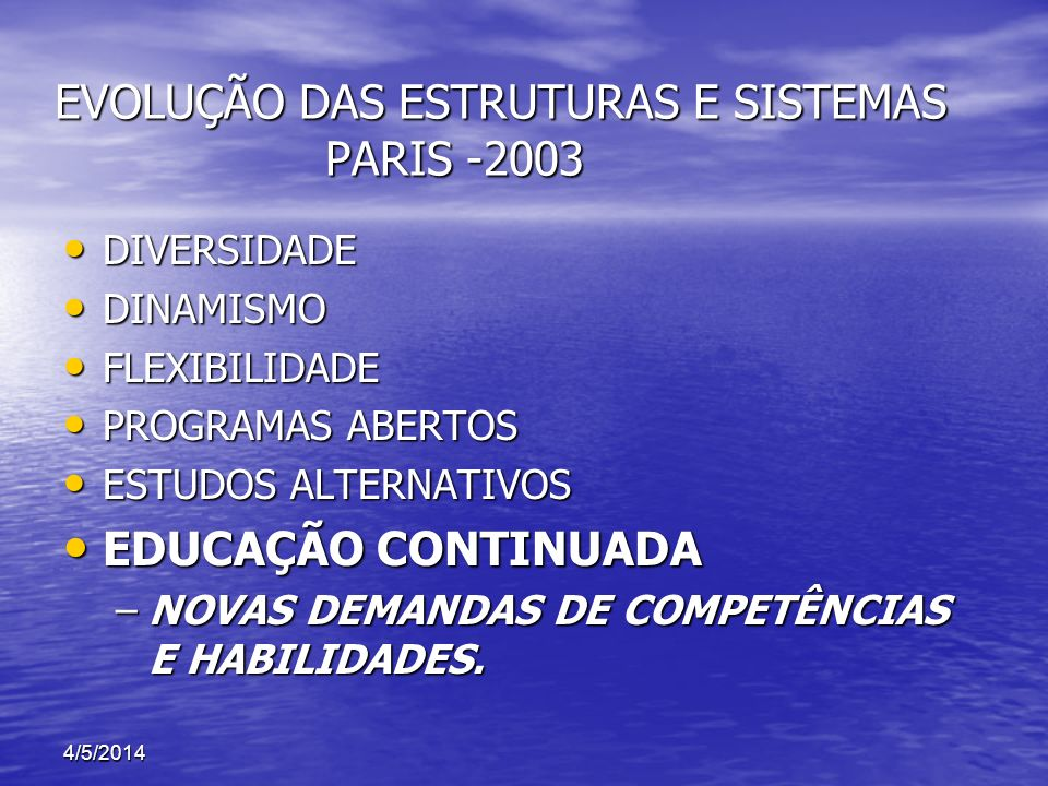 EVOLUÇÃO DAS ESTRUTURAS E SISTEMAS PARIS -2003