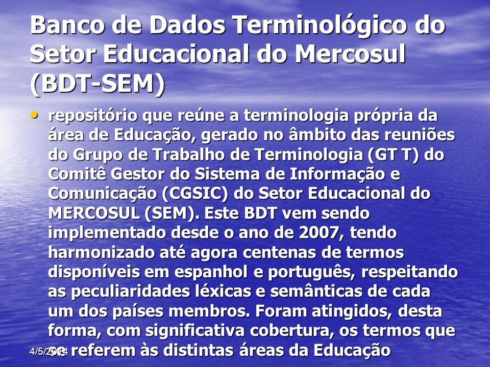 Banco de Dados Terminológico do Setor Educacional do Mercosul (BDT-SEM)