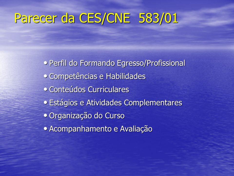 Parecer da CES/CNE 583/01 Perfil do Formando Egresso/Profissional