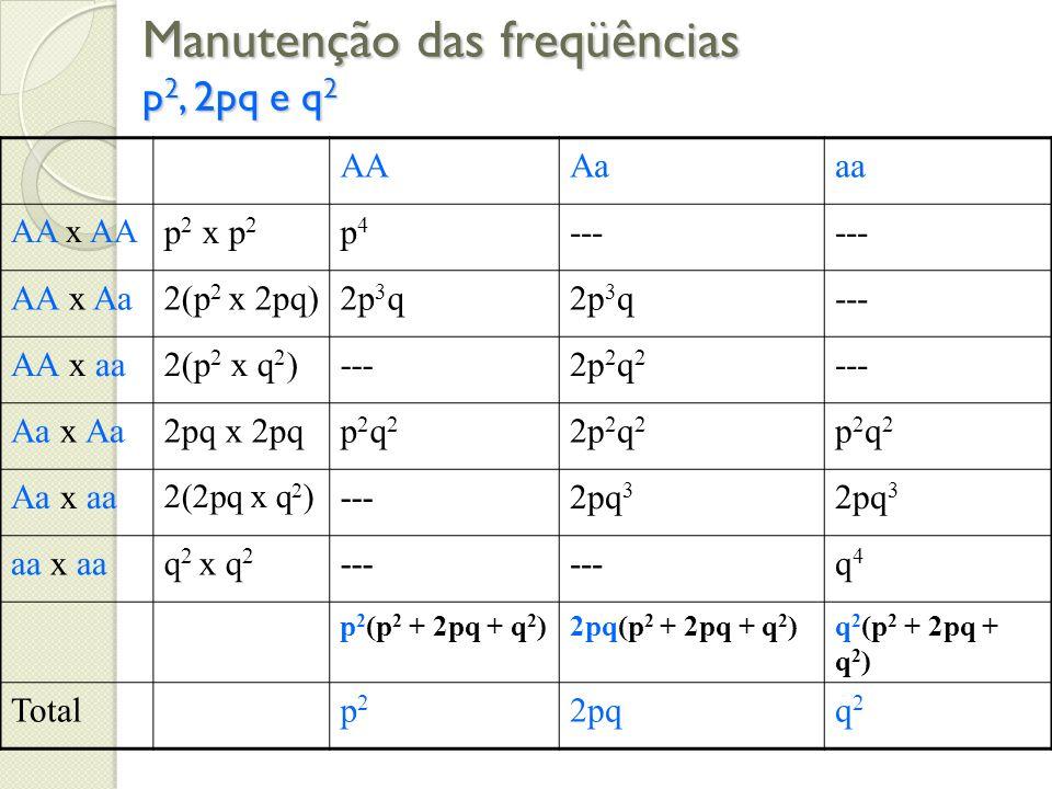 Manutenção das freqüências p2, 2pq e q2