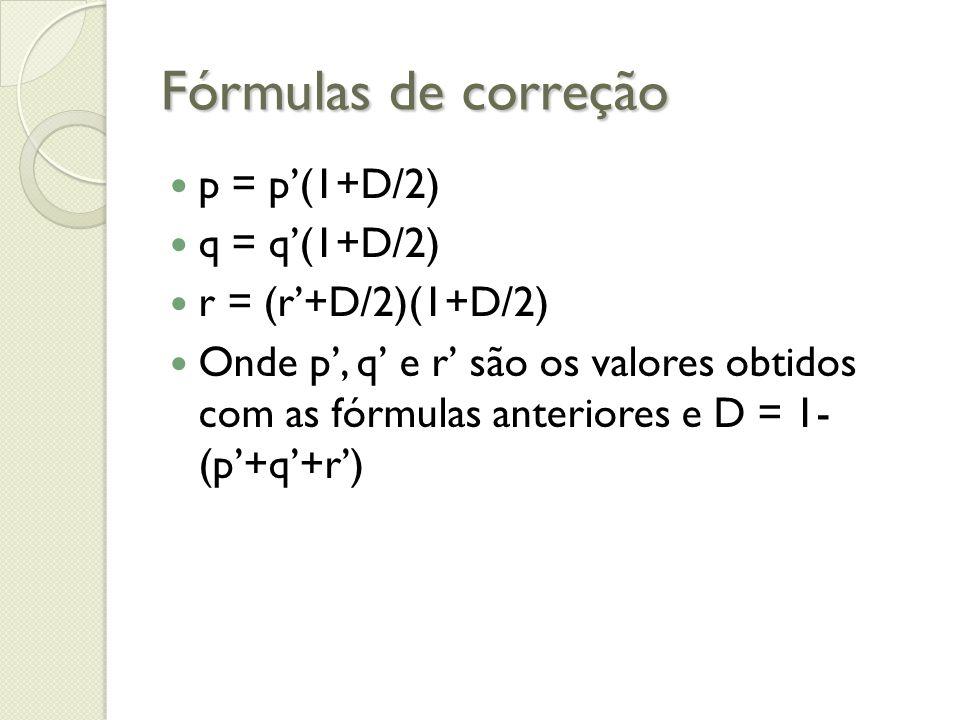 Fórmulas de correção p = p'(1+D/2) q = q'(1+D/2) r = (r'+D/2)(1+D/2)