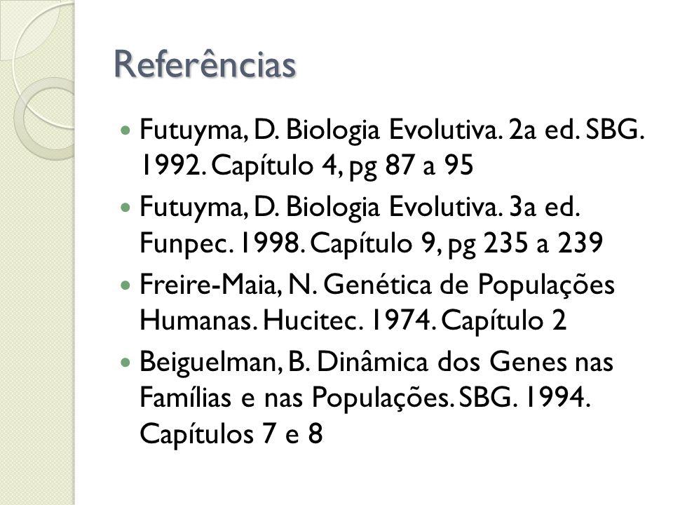Referências Futuyma, D. Biologia Evolutiva. 2a ed. SBG. 1992. Capítulo 4, pg 87 a 95.