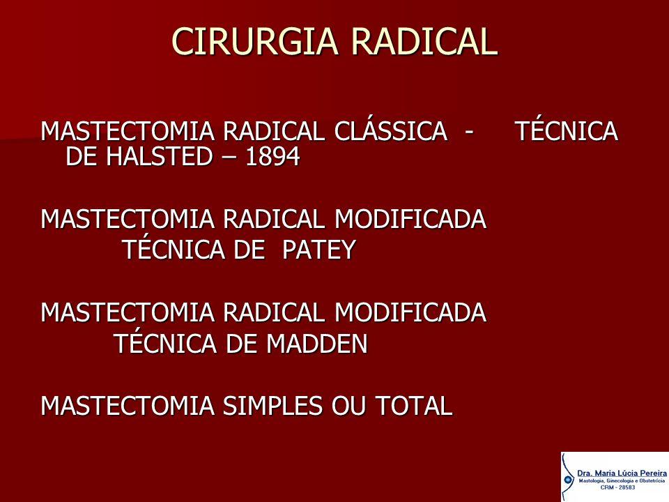 CIRURGIA RADICALMASTECTOMIA RADICAL CLÁSSICA - TÉCNICA DE HALSTED – 1894. MASTECTOMIA RADICAL MODIFICADA.
