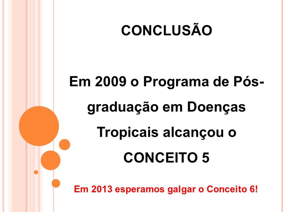 Em 2009 o Programa de Pós-graduação em Doenças Tropicais alcançou o