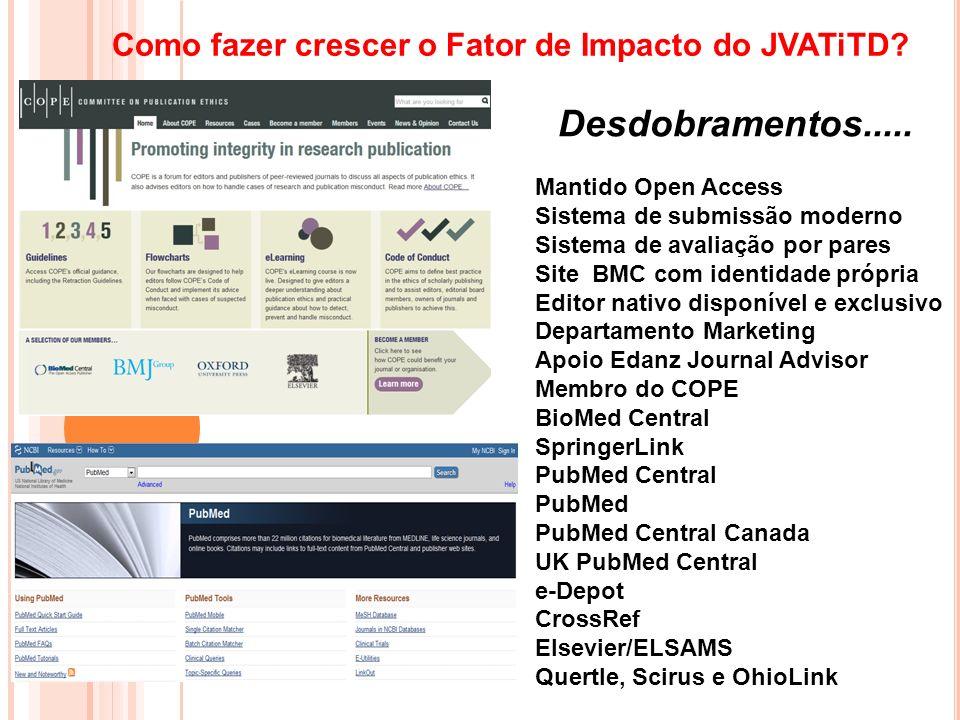 Desdobramentos..... Como fazer crescer o Fator de Impacto do JVATiTD