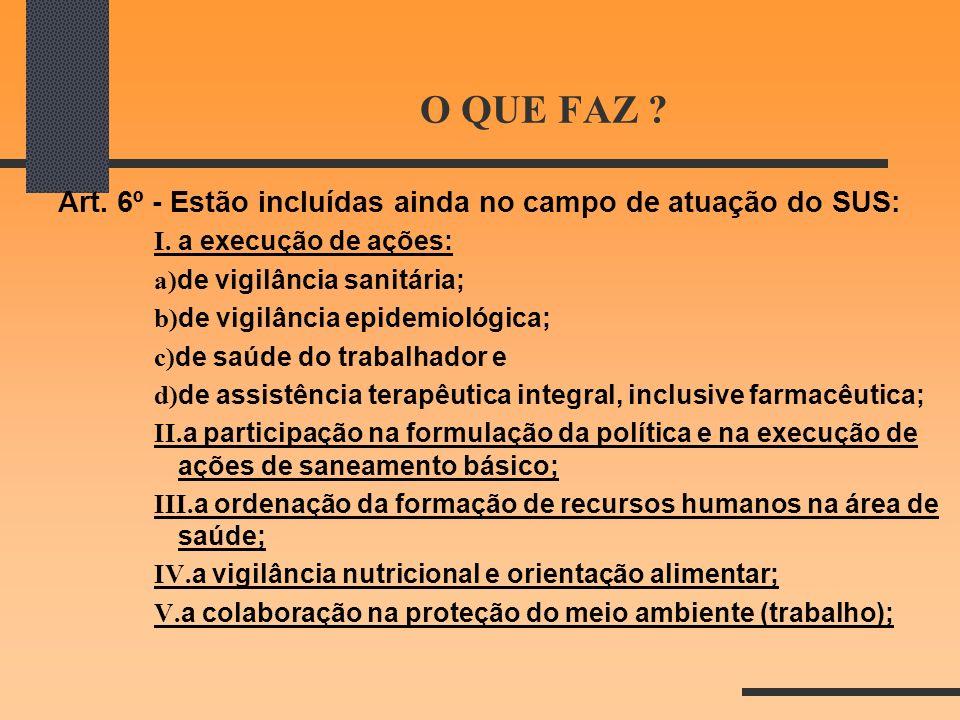 O QUE FAZ Art. 6º - Estão incluídas ainda no campo de atuação do SUS: I. a execução de ações: a)de vigilância sanitária;