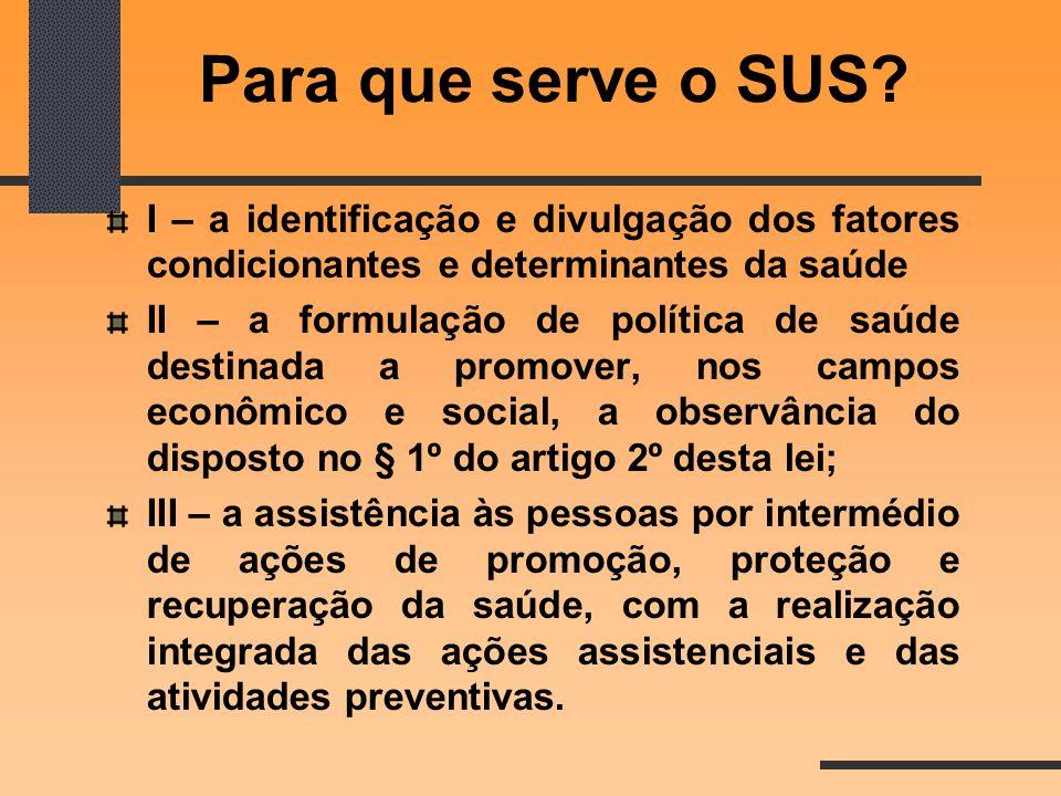 Para que serve o SUS I – a identificação e divulgação dos fatores condicionantes e determinantes da saúde.