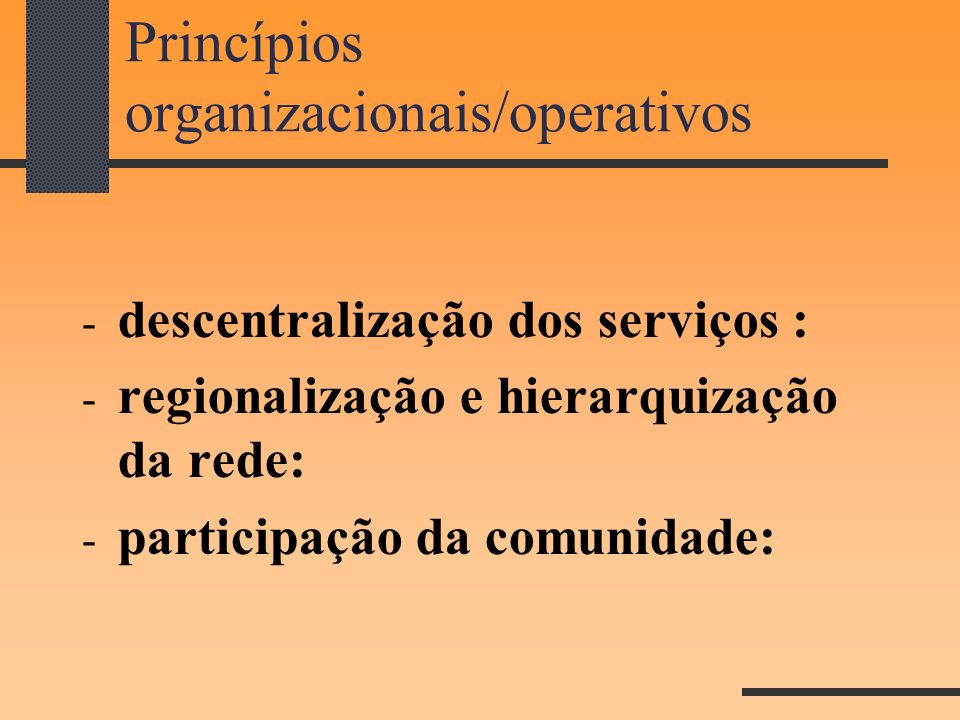 Princípios organizacionais/operativos