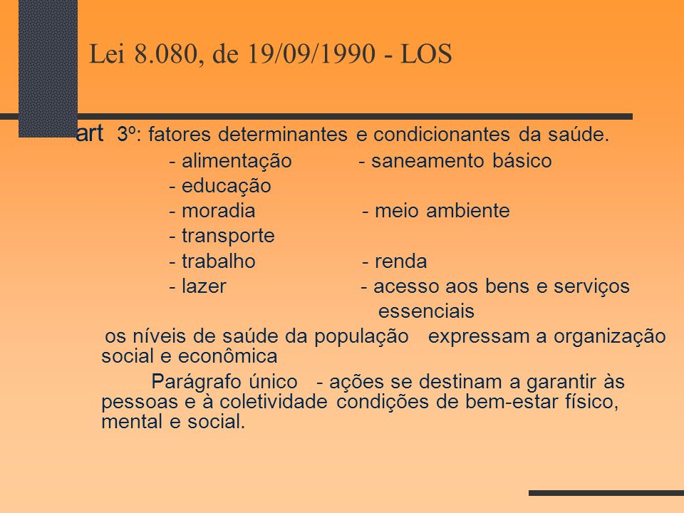 Lei 8.080, de 19/09/1990 - LOS art 3º: fatores determinantes e condicionantes da saúde. - alimentação - saneamento básico.