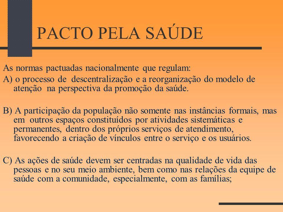 PACTO PELA SAÚDE As normas pactuadas nacionalmente que regulam: