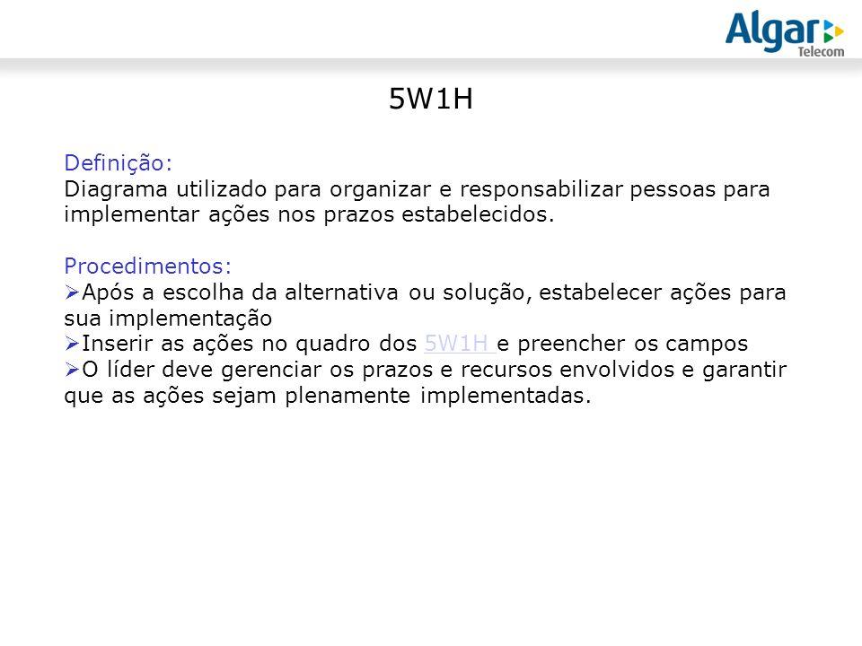 5W1H Definição: Diagrama utilizado para organizar e responsabilizar pessoas para implementar ações nos prazos estabelecidos.