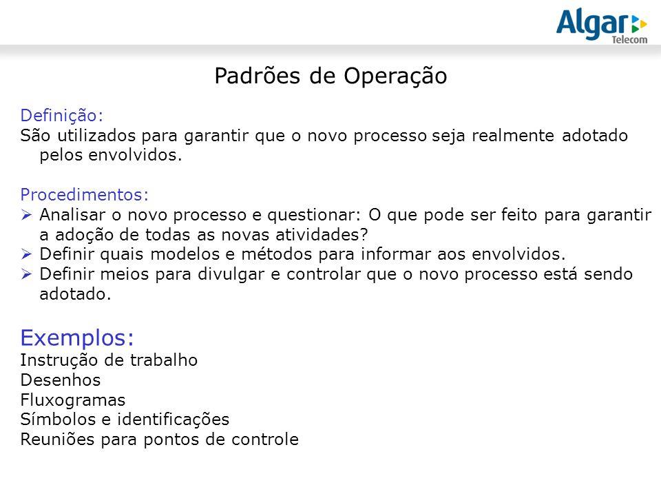 Padrões de Operação Exemplos: Definição: