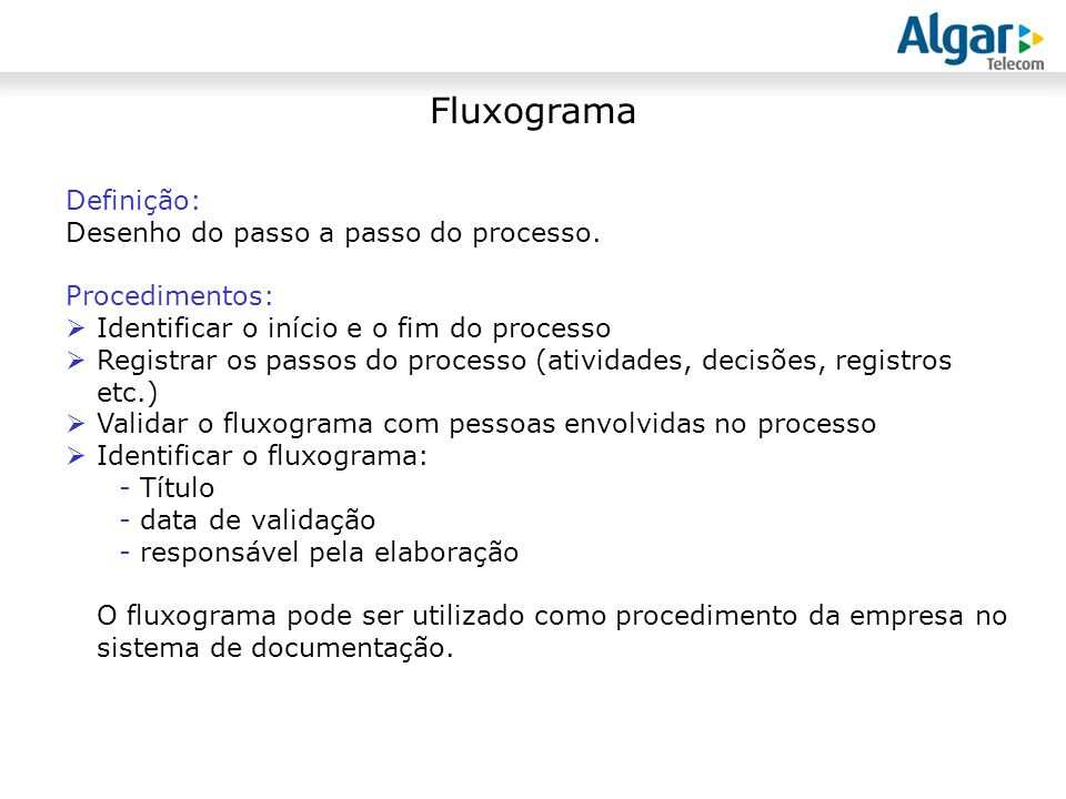 Fluxograma Definição: Desenho do passo a passo do processo.