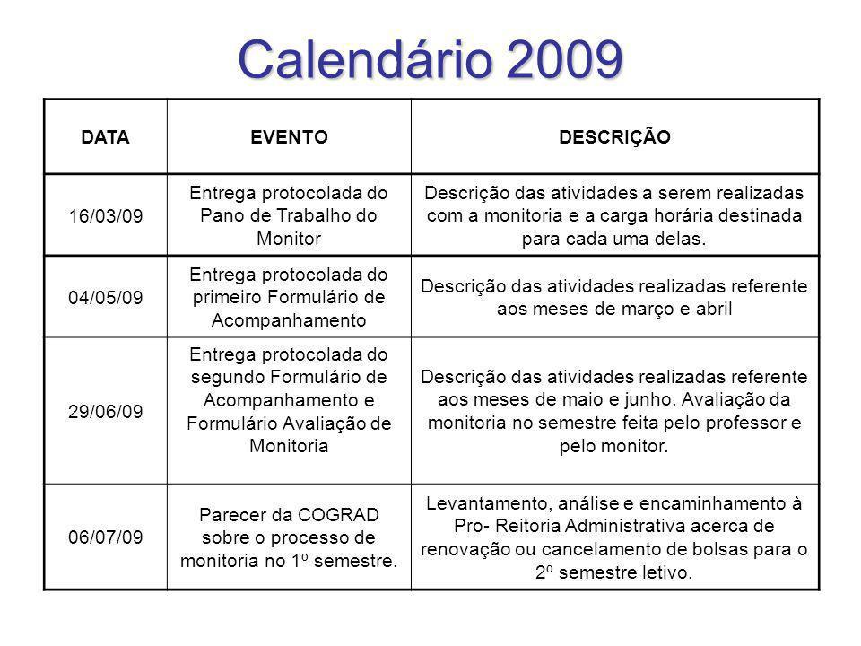 Calendário 2009 DATA EVENTO DESCRIÇÃO 16/03/09