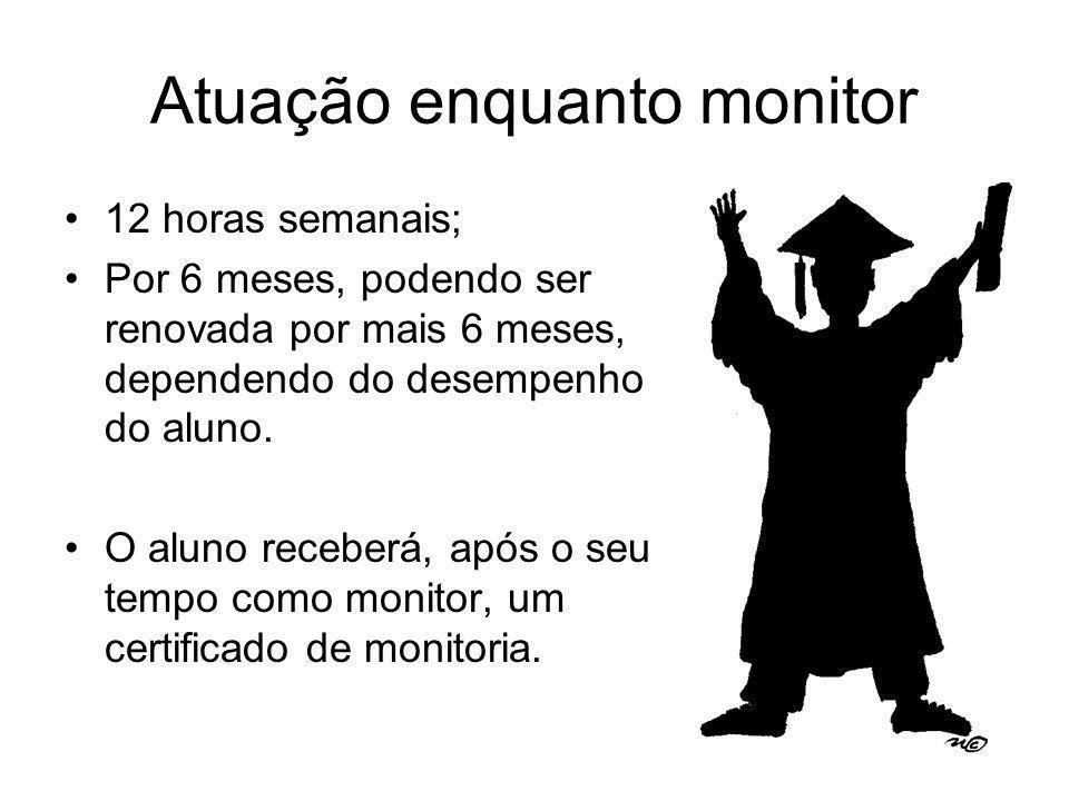 Atuação enquanto monitor