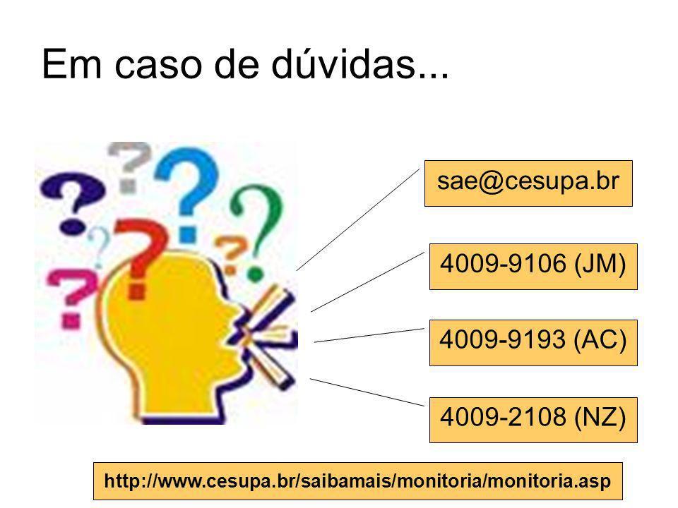 Em caso de dúvidas... sae@cesupa.br 4009-9106 (JM) 4009-9193 (AC)
