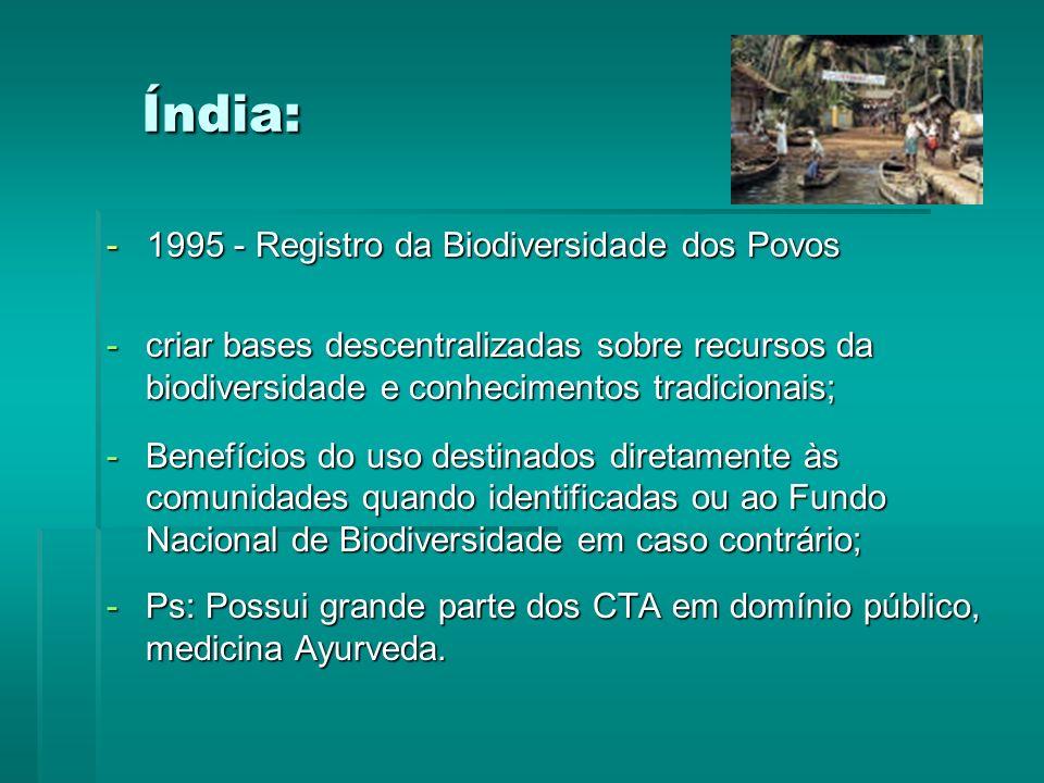 Índia: - 1995 - Registro da Biodiversidade dos Povos